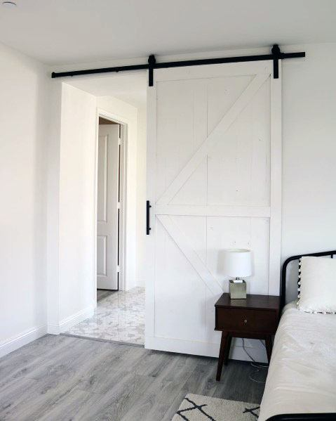 Barn Door Design Idea Inspiration Painted White With Black Hardware