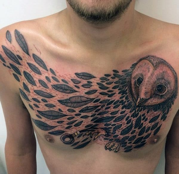 Barn Owl Feathers Mens Upper Chest Tattoos
