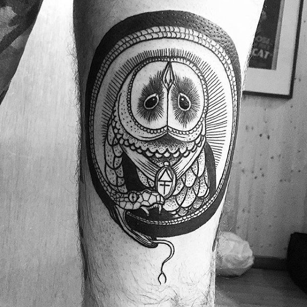 Barn Owl Guys Ouroboros Tattoo On Thigh