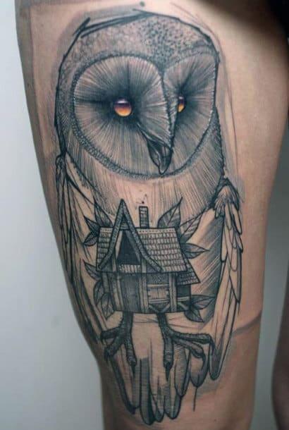 Barn Owl House Mens Thigh Tattoos