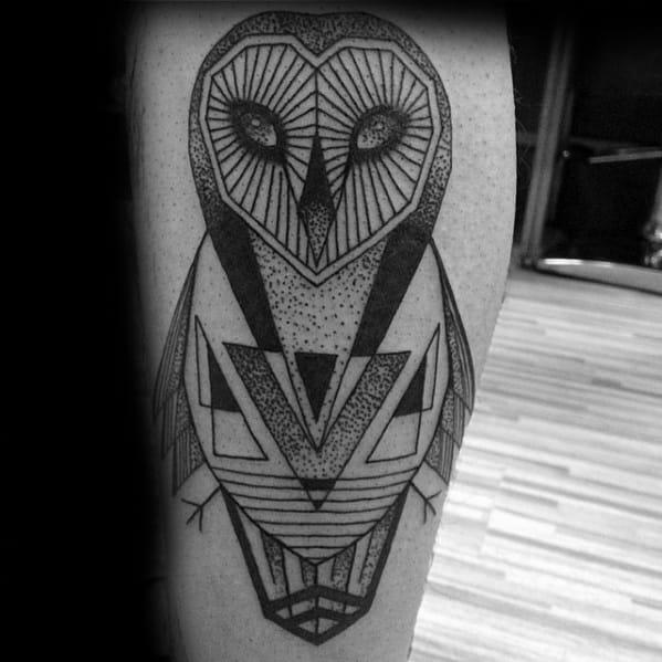 Barn Owl Mens Geometric Leg Tattoo Ideas