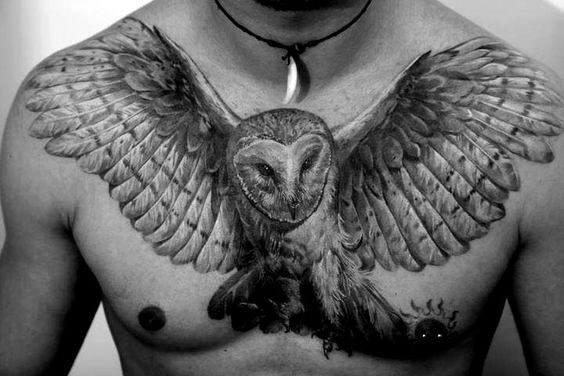 Barn Owl Wings Mens Upper Chest Tattoo