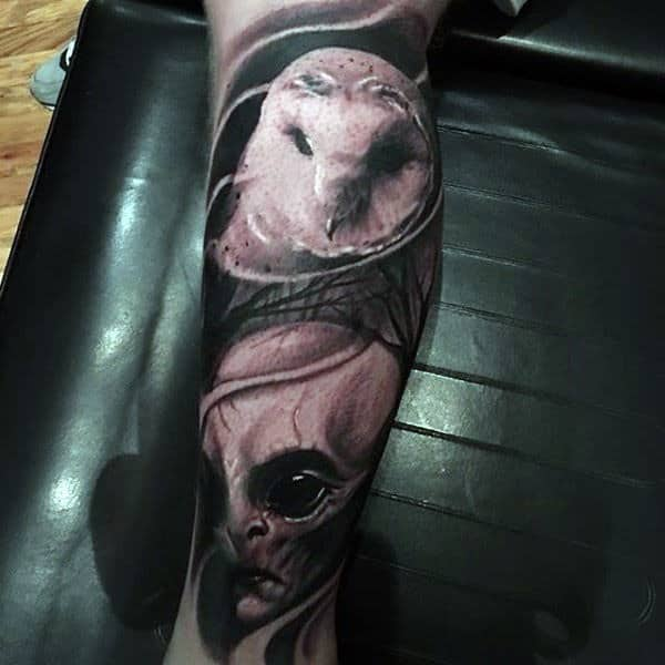 Barn Owl With Alien Head Male Leg Tattoo Sleeve