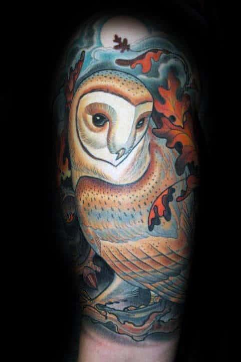 Barn Owl With Orange Leaves Mens Half Sleeve Tattoo