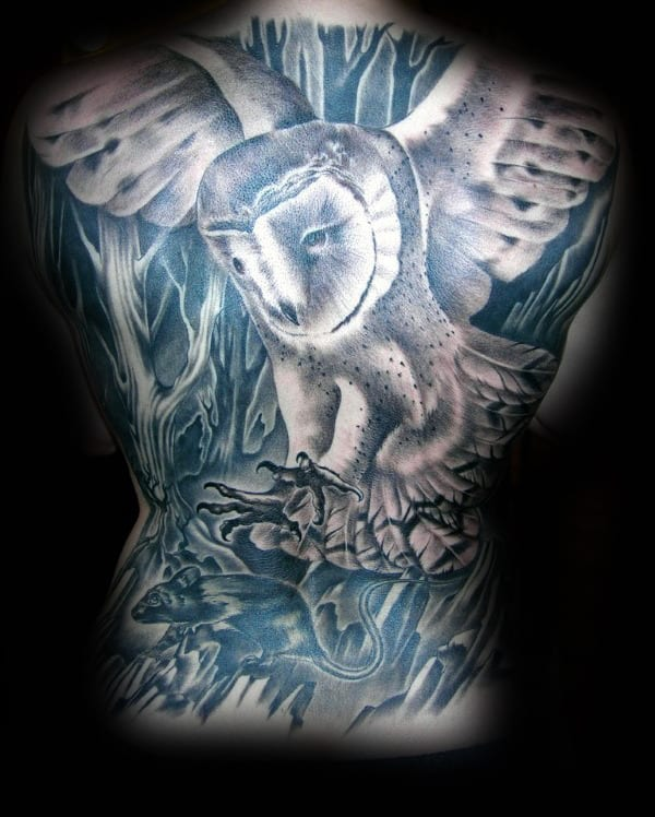 Barn Owl With Rat Mens Shaded Full Back Tattoos