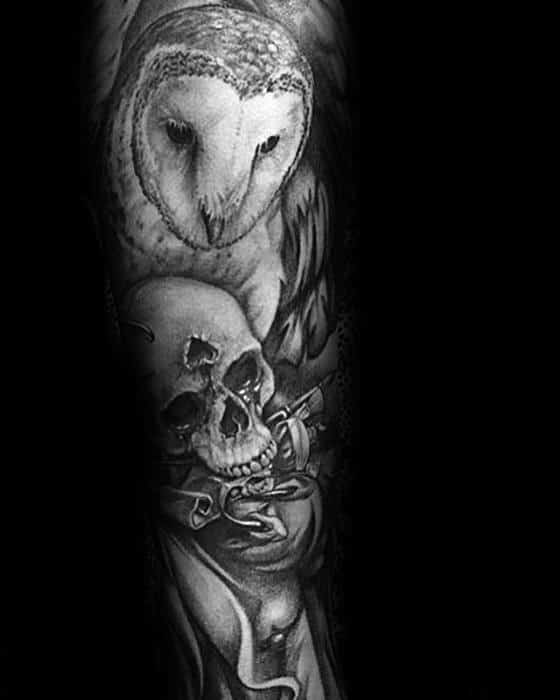 Barn Owl With Skull Guys Heavily Shaded Sleeve Tattoos