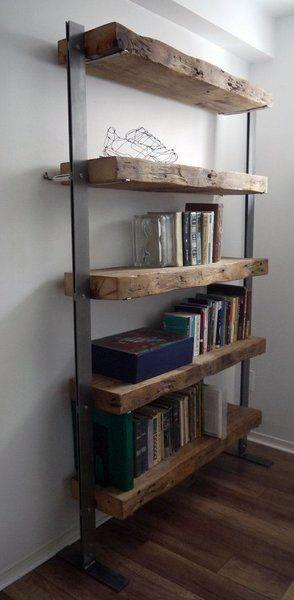 Barn Wood And Steel Bookshelf Ideas