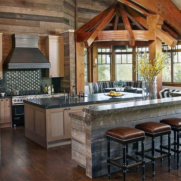 Barn Wood Bar Rustic Kitchen Ideas