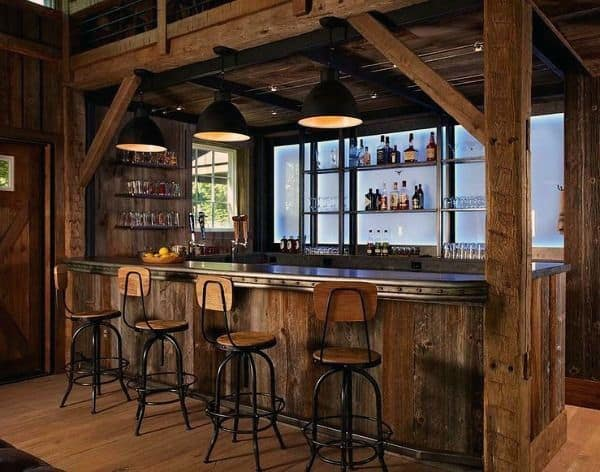 Attirant Barn Wood Beams Rustic Bar Ideas