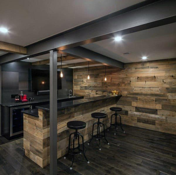 Barn Wood Walls Bar Rustic Basement Ideas