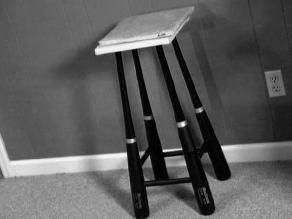Baseball Bat Leg Stool Diy Man Cave Ideas