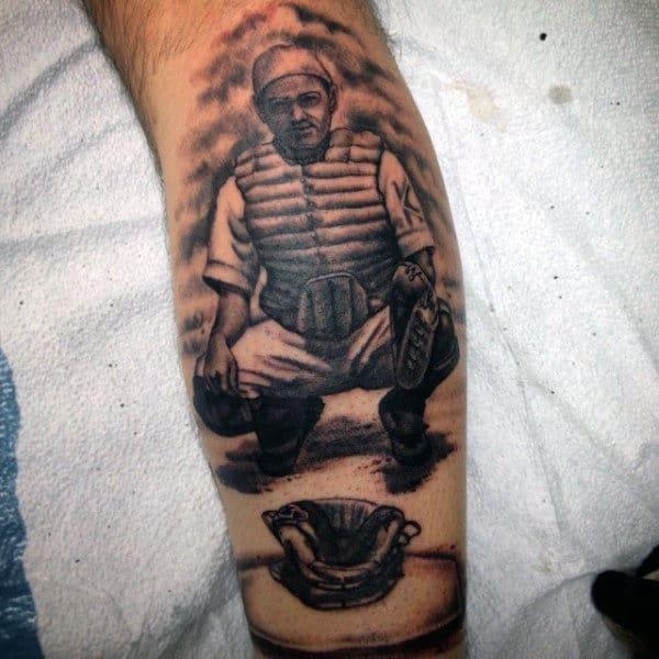 Baseball Catcher Tattoo For Men