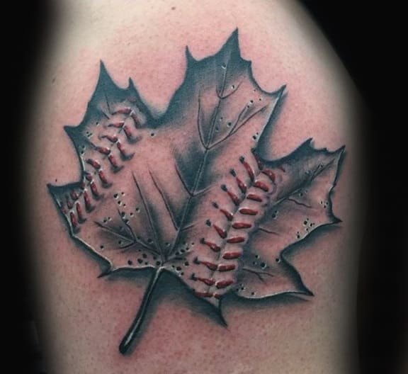 Baseball Maple Leaf Design Tattoo On Male