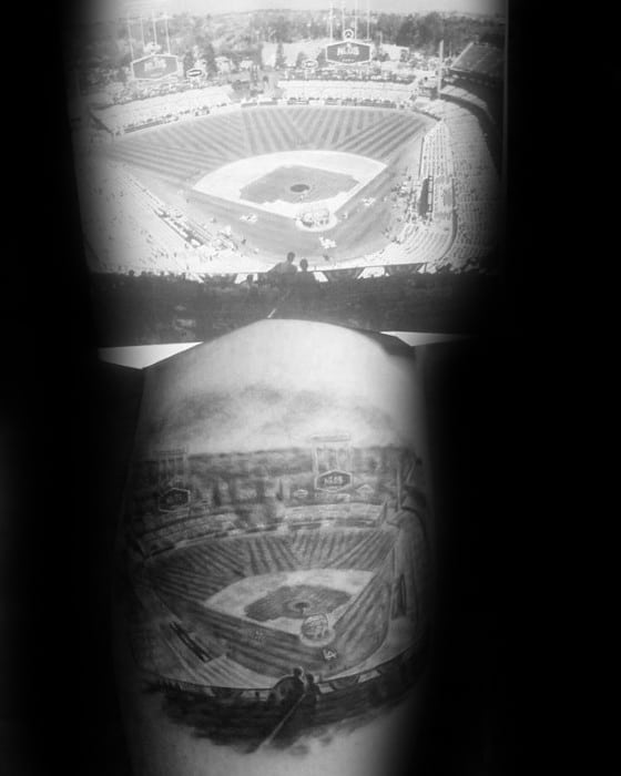 Baseball Stadium Arm Dodgers Tattoos Men