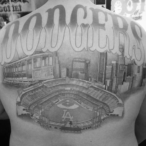Baseball Stadium Dodgers Back Tattoo On Men