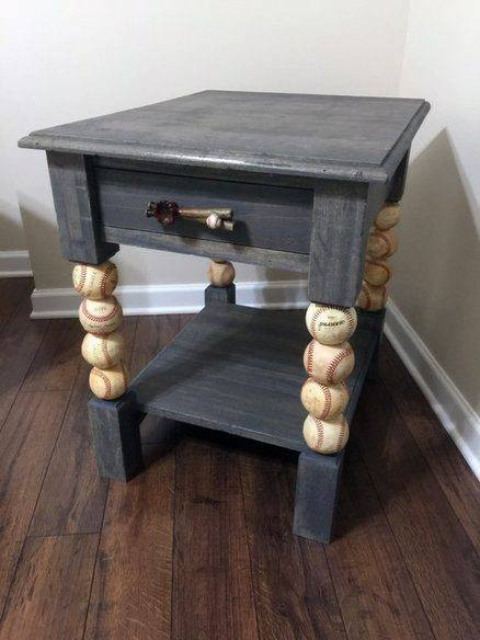 Baseballs Side Table Cheap Man Cave Ideas