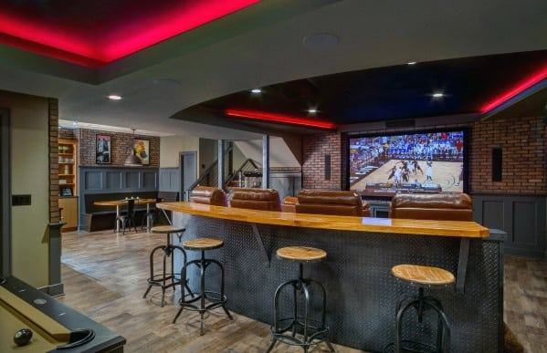 Basement Awesome Man Caves With Home Theatre And Bar
