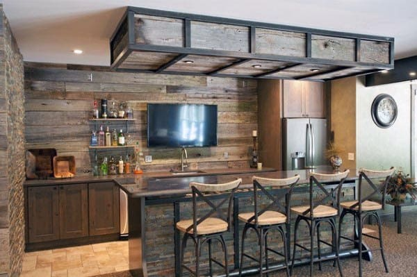 Basement Bar With Rustic Design