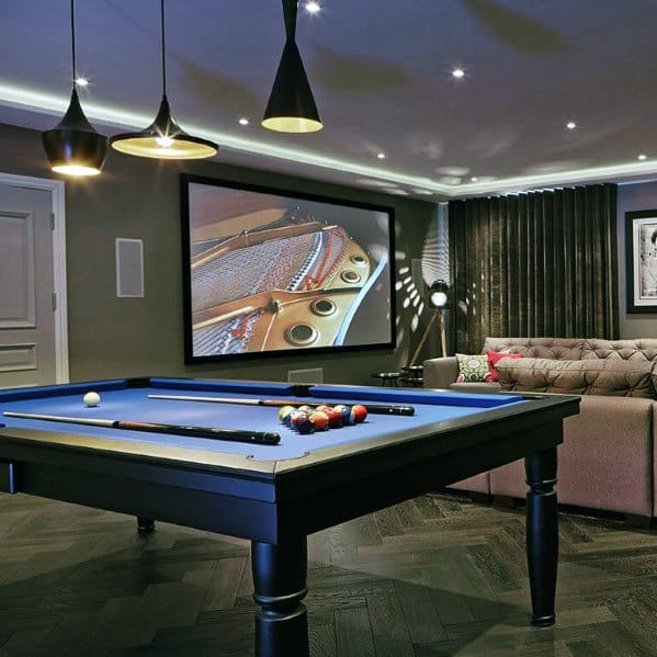 Basement Billiards Room Ideas With Movie Area