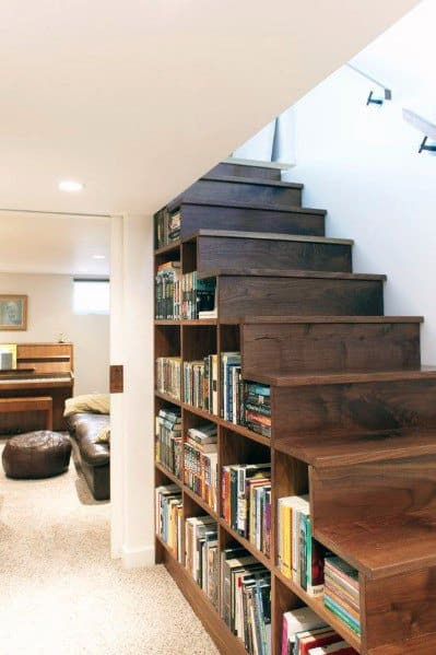 Basement Bookcase For Books Under Stairs Ideas Inspiration