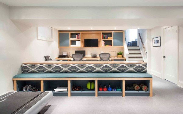 Basement Built In Desk Ideas