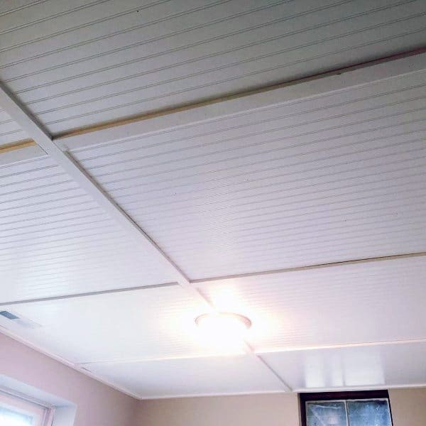 Basement Ceiling Designs Ship Lap Painted White
