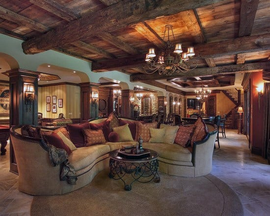 Top 60 best basement ceiling ideas downstairs finishing for Log cabin basement ideas