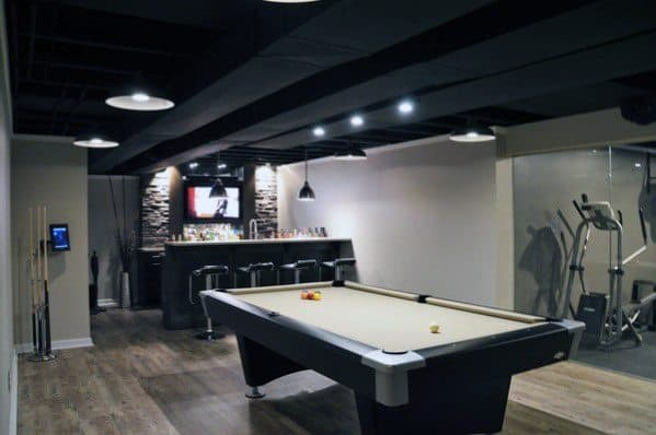 Basement Man Cave With Fitness Room
