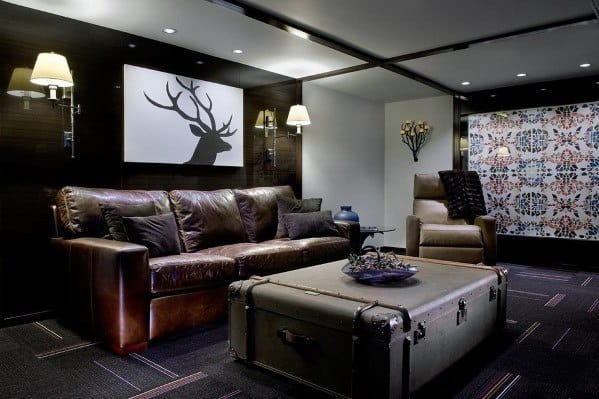 Basement Man Caves With Rustic Design