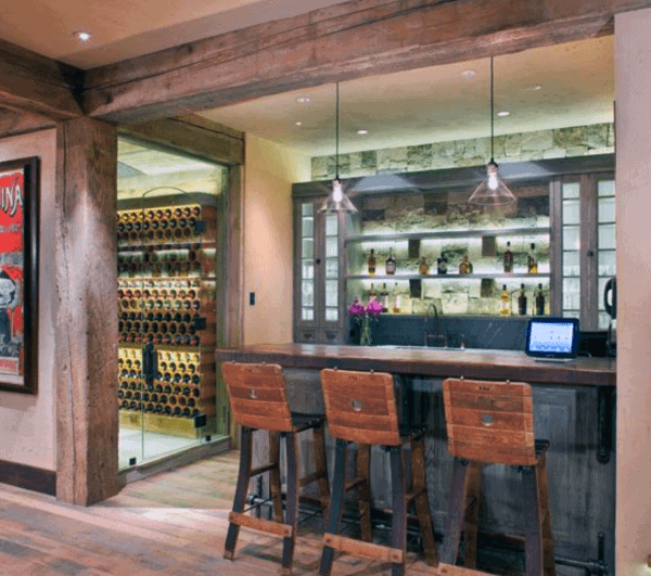 Basement Rustic Bar Ideas With Glass Door Wine Cellar