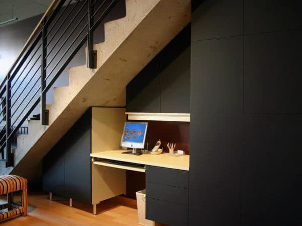 Basement Stairs Ideas With Office Nook