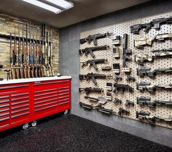 Basement Work Bench Gun Room Display