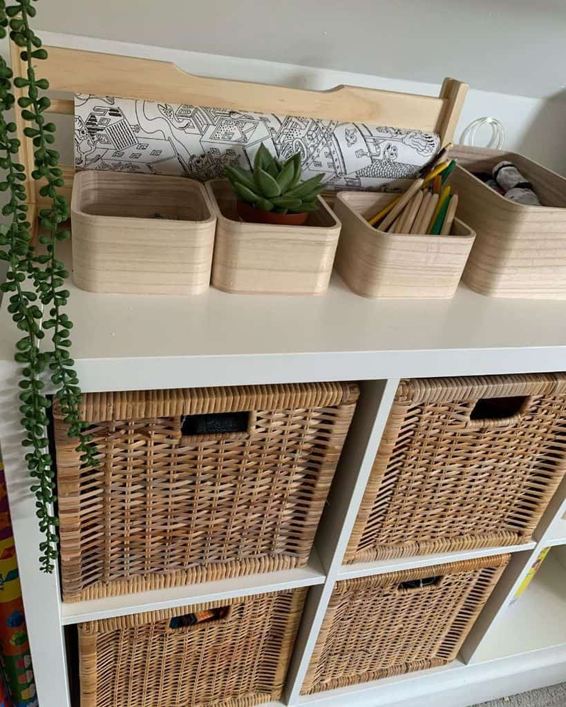 basket and bins bedroom organization ideas at.home.with.the.brose