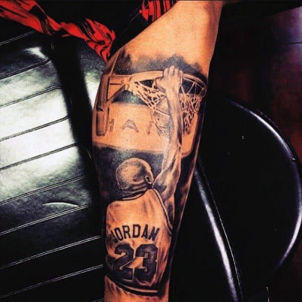 Basketball Dunk Leg Tattoos For Males
