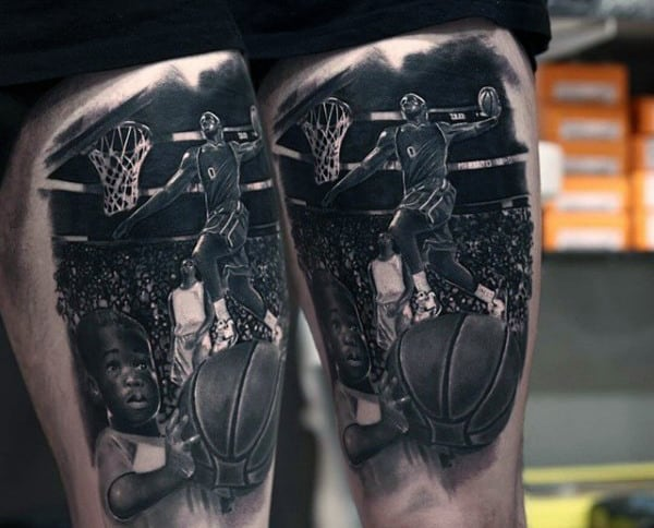 Basketball Player Slam Dunk Black Inkguys Thigh Tattoos