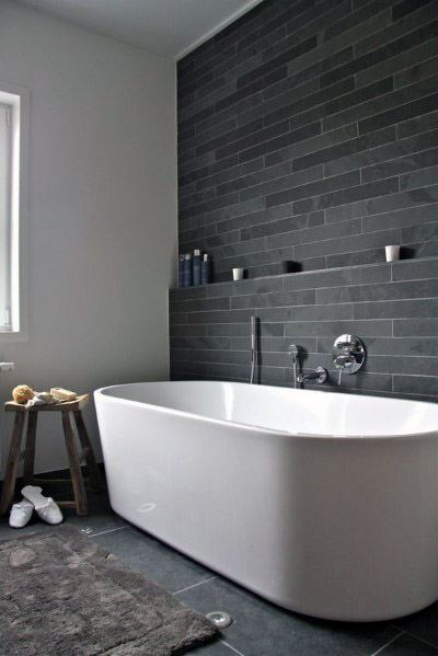Bath Tub Wall Grey Slate Tile Design Ideas