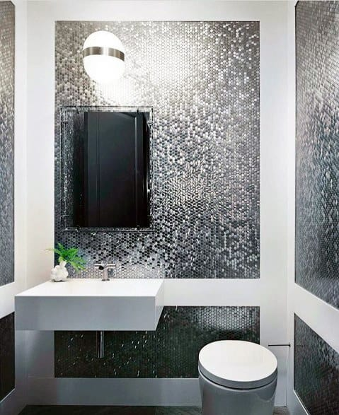 Bathroom Backsplash Small Mosaic Metal Tiles Design Ideas