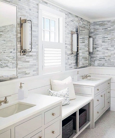 Bathroom Backsplash White Painted Wood Shiplap With Tile Above