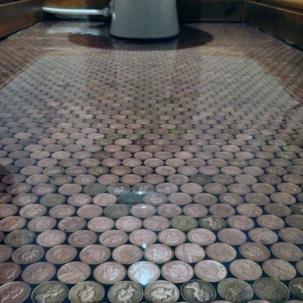 Bathroom Epoxy Penny Floors