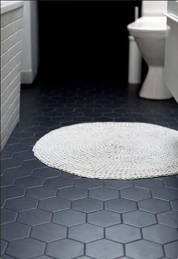 bathroom floors tiles ideas black hexagon tile - Images Of Bathroom Floors