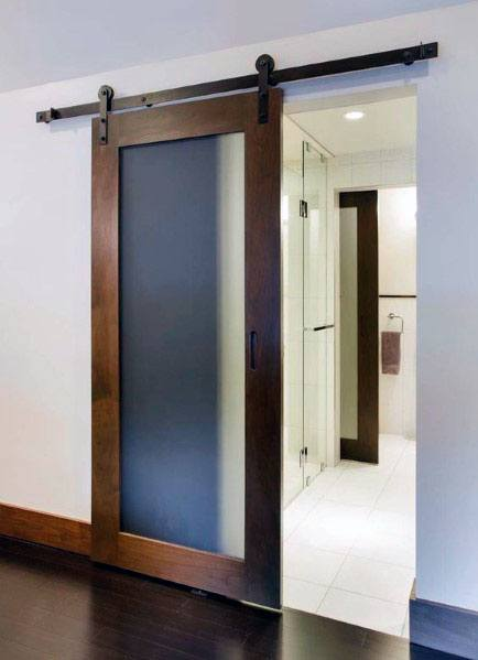 Bathroom Frosted Glass Wood Frame Barn Door Ideas