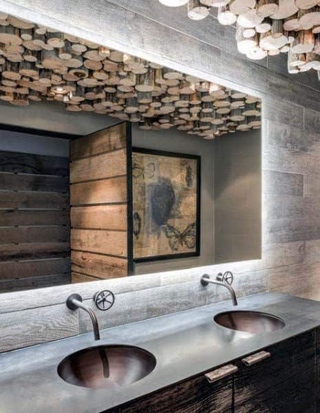 statement wall and ceiling bathroom decor ideas
