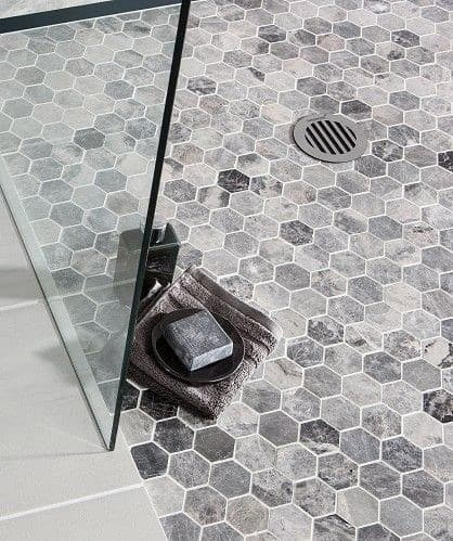 Bathroom Shower Ideas Tile Hexagon Floor