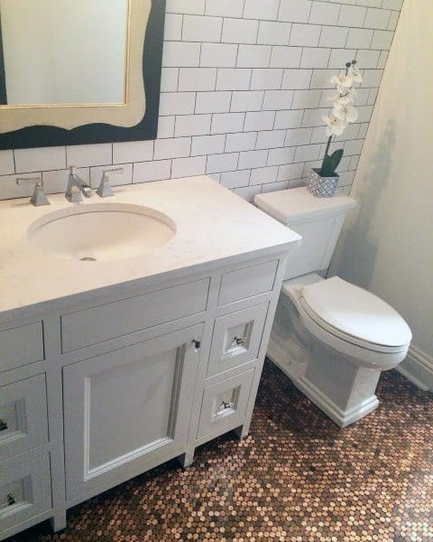 Bathroom Traditional Penny Floor Ideas