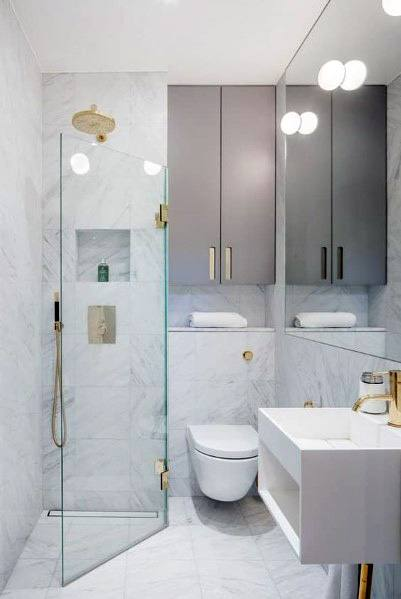 Bathroom Ultra Modern Corner Shower Ideas With Brass Fixtures