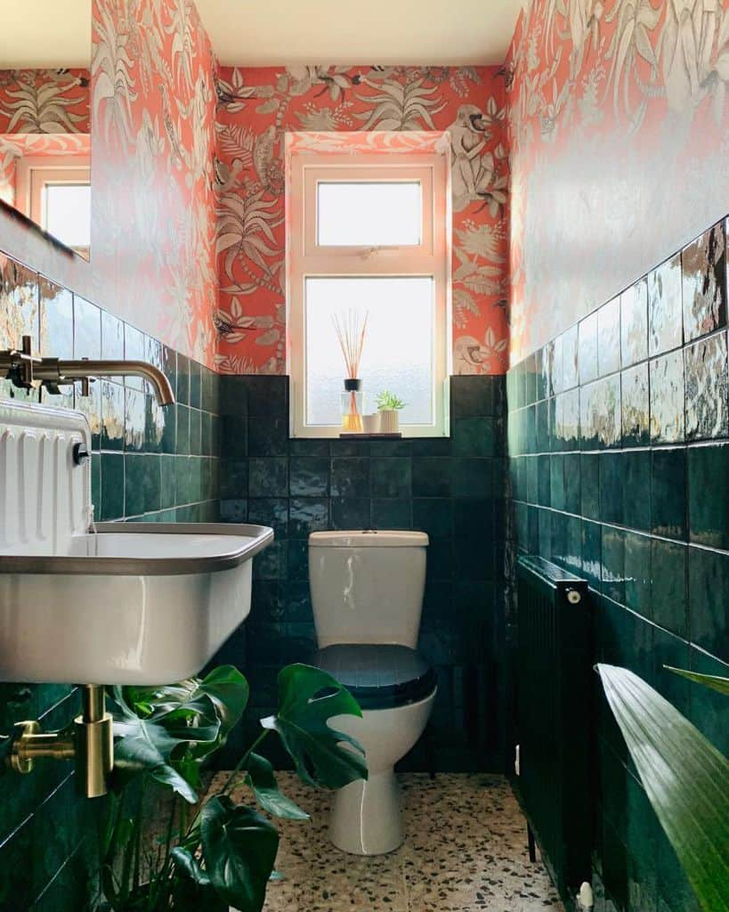 Bathroom Wallpaper Ideas With Tiles Mwnhome