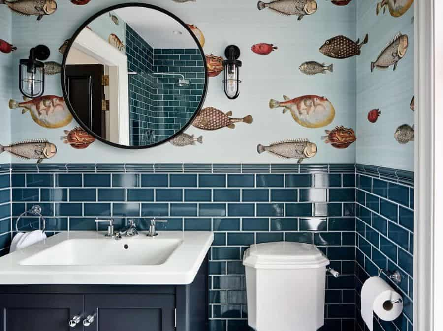 Bathroom Wallpaper Ideas With Tiles Tuwdesigns