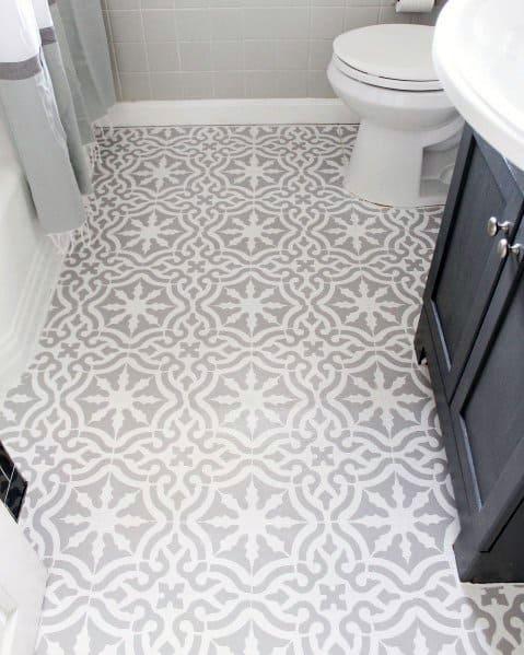 Bathroom White And Grey Impressive Painted Floor Ideas