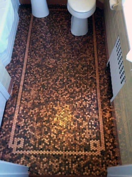 Bathroom With Penny Floor Design