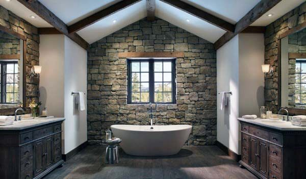 Bathroom With Rustic Design
